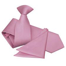 DQT Woven Plaids Solid Check Formal Mens Slim Clip on Tie Handkerchief Set Light Pink