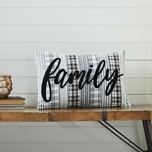 VHC Sawyer Mill Black White Plaid Family Appliqued Country Cottage Accent Pillow