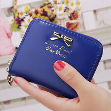 Women Leather Bow Wallet Zip Card Holder Coin Change Purse Ladies Clutch Handbag