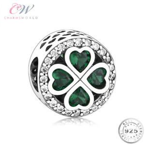 Lucky Clover Charm Genuine 925 Sterling Silver 💞 Good Luck Green Four Leaf