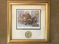 RARE Emmett Kelly Circus Clown Bandwagon Signed Gold Framed Print 1873/5000
