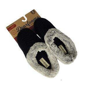 Dearfoams NWT Black Slip On Clog Style Slippers Faux Fur Womens Small Sizes 5-6