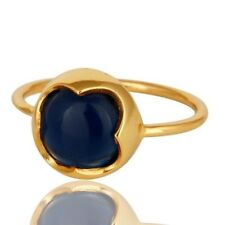 925 Sterling Silver 14K Gold Plated Jewelry Natural Blue Corundum Gemstone Ring