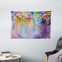 Floral Tapestry Blooming Flowers Artsy Print Wall Hanging Decor 60Wx40L Inches
