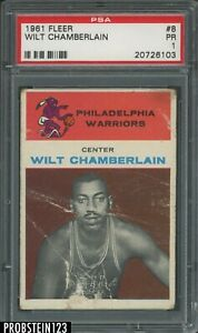1961 Fleer Basketball #8 Wilt Chamberlain Warriors RC Rookie HOF PSA 1 Poor