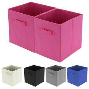 2/4/6/8 Pcs Fabric Square Canvas Foldable Storage Cubes Box Collapsible