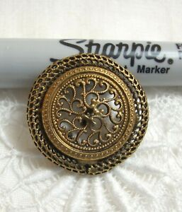 """Antique Victorian Metal Button 1"""" FILIGREE WITH SCREEN BORDER"""