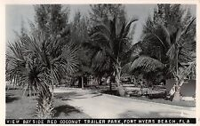 1930's? RPPC Bayside Red Coconut Trailer Park Fort Myers Beach FL Roadside