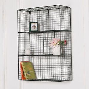 Industrial Metal Wire Large 5 Compartment Black Wall Mounted Hung Storage Shelf