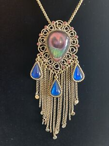 *VINTAGE*BETSEY*JOHNSON*MOROCCAN*MOROCCO*PEACOCK*FEATHER*NECKLACE*NORDSTROM*