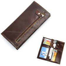 New Men Vintage Genuine Leather Long Bifold Wallet Card Holder Coin Pocket Purse