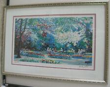 Vintage Landscape Print Depicting Figures In A Garden Signed and Numbered
