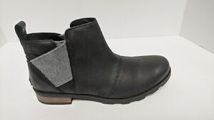 Sorel Emelie Chelsea Boots, Black Leather, Women's 11 M