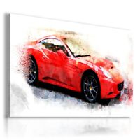 PAINTING DRAWING RED CAR PRINT Canvas Wall Art Picture R67 MATAGA . NO FRAME