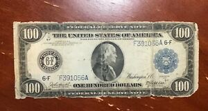 1914 $100 FEDERAL RESERVE NOTE VG DETAILS CHEAP TYPE NOTE