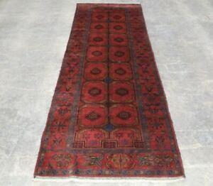 w222 Handmade Afghan Wool Tribal Vintage  Runner Persian Rug size 271x96 cm