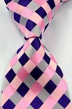 New Classic Checks Purple Pink JACQUARD WOVEN Silk Men's Tie Necktie #293