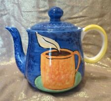 BELLINI PIU POTTERY ~ CERAMIC HAND-PAINTED TEAPOT WITH LID ~ MADE IN ITALY