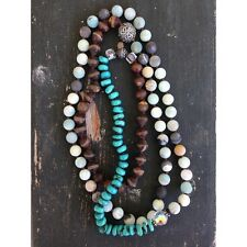 Anthropologie TURQUOISE & MInt Semi Precious Stone Crystal NECKLACE LONG New