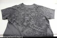 Anchor Blue T-Shirt Gray Men's Size LARGE - Skull DESTROY Pattern - READ 50811