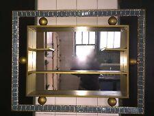 VTG 1950s 50s Slate Blue Tile Gold Mica Glitter Mirror Shadow Box Curio Shelf