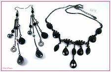 MONSOON ACCESSORIZE BLACK EVENING WEAR OR GOTHIC NECKLACE & EARRING SET.