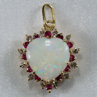 Precious Opal Heart Diamond Ruby 14k Gold Mixed Gemstone Halo Pendant