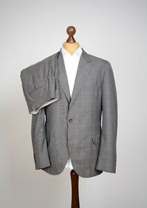 GREAT Brunello Cucinelli Wool & Silk Check Plaid Gray Suit