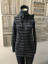 Lululemon Stride Jacket Black Micro Macro Stripe Size 2 With Hood
