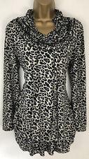 Portobello Punk Top Black Grey Animal Print Pleat Ruffle Long Sleeve UK M/L 12