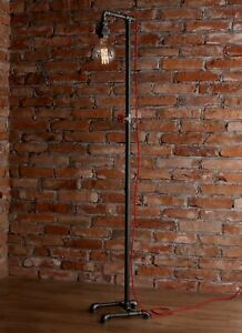 Vintage Industrial Retro style tall steel pipe floor lamp Edison bulb