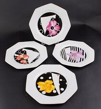 "Rochard Set of 4 - 8"" Octagon White Black Deco Lady Flower Plates /F022"