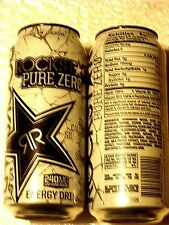 FULL USA Can 16 oz ROCKSTAR Energy Drink PURE ZERO SILVER ICE - TEXTURED (HTF)