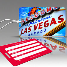 TagCrazy Luggage Tags, Las Vegas Design, Durable Plastic Loops- 3 Pack