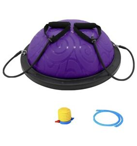 ATIVAFIT Half Ball Balance Trainer with Straps Yoga Balance Ball Purple