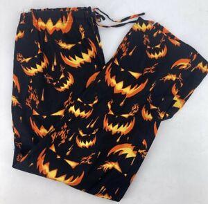 Halloween Black Orange Sleep Pajama pants Mens size M, Medium