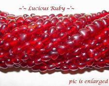65 Luscious Ruby Heart Glass Beads 6MM
