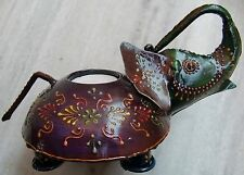Vintage Original Iron Unique Hand Crafted Elephant Shaped Candle Stand Figure