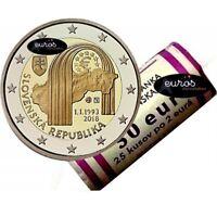Rouleau 25 x 2 euros Slovaquie 2018 - Création de la République Slovaque - UNC