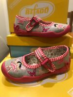 Befado Girls Grey Jersey Pink Gingham Mary-Jane Fairy Motif Shoe Non-Slip sz25/8