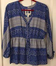 EDME & ESYLLTE Anthropologie 100% Silk Tunic Blouse Blue White Top Wmen 4 S XS