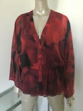 NWT ALICE OLIVIA SEXY WOMENS BLOUSE TUNIC TOP MEDIUM RED BLACK FLOWING