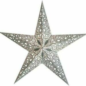 Papierstern Weihnachtsstern Leuchtstern Faltstern starlightz raja silber 60 cm