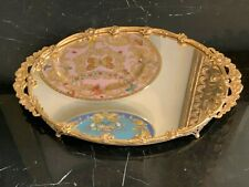 Vintage Art Nouveau Gilt Mirror Vanity Perfumes Footed Tray