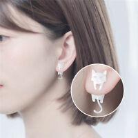 Asymmetric Silver Plated Earrings Cat Fish Ear Stud Earrings Women Jewelry-GifME