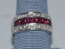 10k White Gold ring with Pink tourmaline(Oct birthstones) and Diamonds