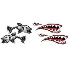 2 Stück Haifischzähne Mund Aufkleber Aufkleber + 2 Stück Skelett Fisch