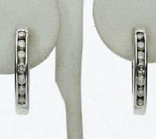 Diamond hoop earrings 14K white gold 14 channel champagne round brilliants .42CT