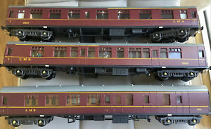 3 X LMS O GAUGE  COACHES WITH INTERIOR LIGHTS AND PEOPLE