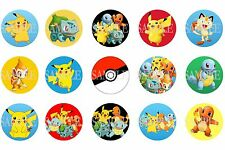 15 Pre-Cut Pokemon 1 Inch Bottle Cap Images